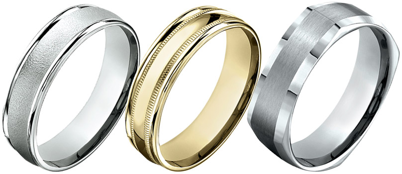 white band brushed by finish tq men gold products bands w s wedding caen benchmark mens